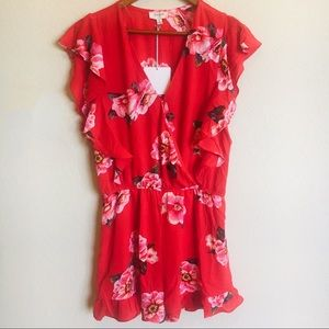 NWT! Red Floral Romper